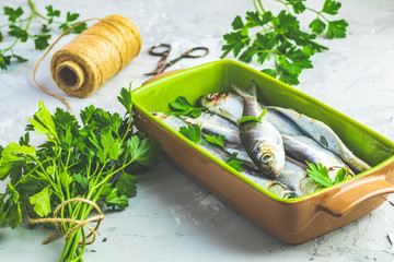 Sardines or baltic herring on green dish