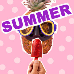 text summer in a contemporary collage
