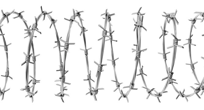 Barbed wire spiral isolated on a white background. 3d render