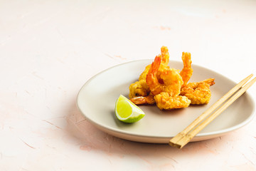 Seafood tempura dish of traditional asian cuisine.