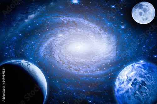 Wall mural Landscape galaxy. Planet, Earth, moon view from space with Milky way galaxy. (Elements of this image furnished by NASA)