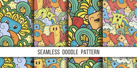 Collection of seamless vector patterns with cute cartoon monsters and beasts. Nice for packaging, wrapping paper, coloring pages, wallpaper, fabric, fashion, home decor, prints etc