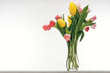 bouquet of colorful tulips in vase for international women's day, on white