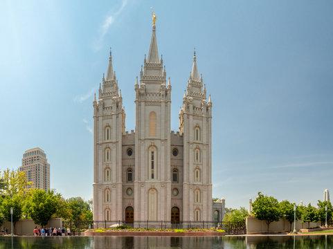 Salt Lake Mormon Temple of The Church of Jesus Christ of Latter-day Saints on Temple square the city, Utah
