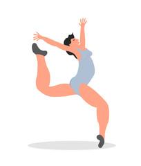 Split jump girl gymnast. Creative vector illustration
