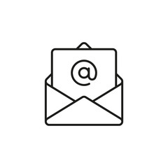 Outline email icon. Open envelope with a letter. Vector