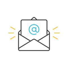 Outline email icon. Open envelope with a letter. Vector illustration