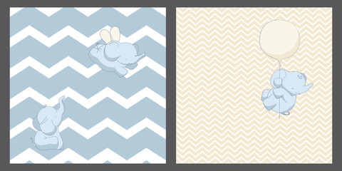 Baby elephants seamless patterns little set, backgrounds design, universal and classic backdrops for tiny boys and girls