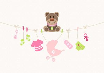 Teddy & Baby Icons Mädchen Wäscheleine Punkte Pink/Beige