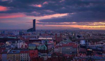 Panorama of wroclaw with beautiful view on Sky Tower after the sunset