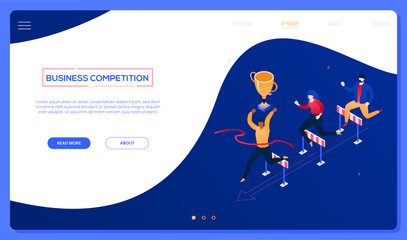 Business competition - modern colorful isometric vector web banner