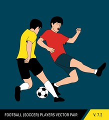 The soccer players fighting for the ball. Vector illustration. Football players in action. One player tries to take the ball from another.