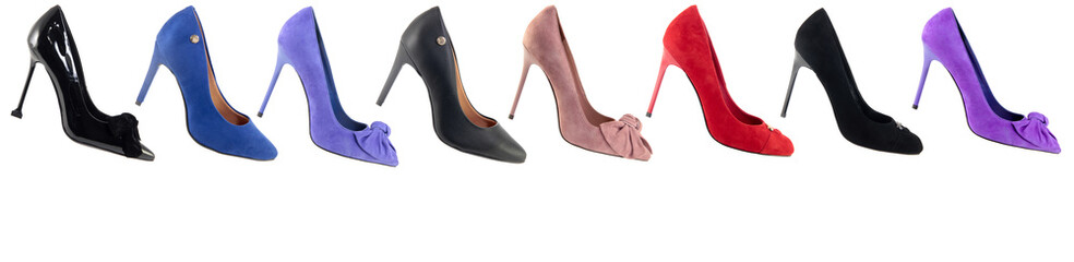 Different color high heel shoes. Collage. Wall mural
