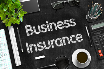 Business Insurance - Text on Black Chalkboard. 3D Rendering.