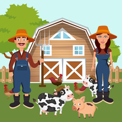 Two farmers in the farm scene. Farm scene organic products label. Flat vector illustration