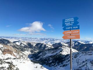 Fototapeta Ski run signs at Snowbird ski resort obraz