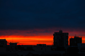 sky colored eye at dawn in madrid