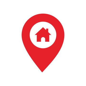Pin map Home icon vector