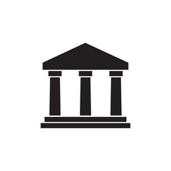 Bank, finance, museum, ancient architecture. Building vector icon.