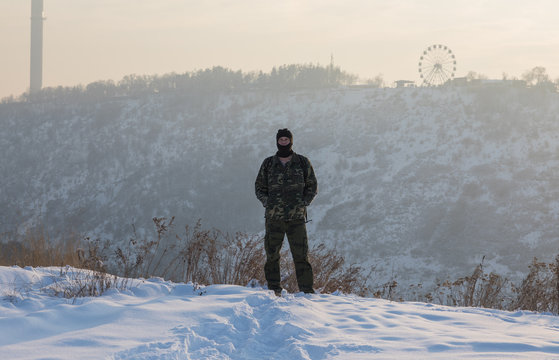 soldier on the mountain in winter