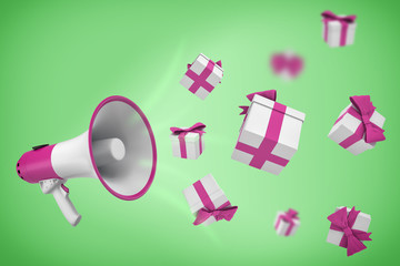 3d rendering of white and violet megaphone hangs on a green background with many gift boxes flying out from it.