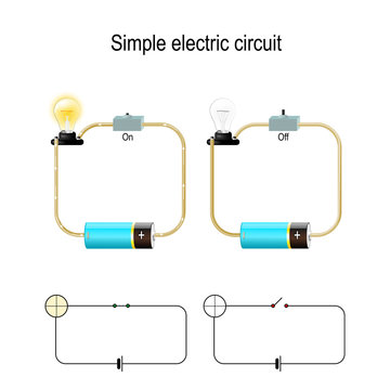 Simple Electric Circuit. Electrical network and lighting lamp.