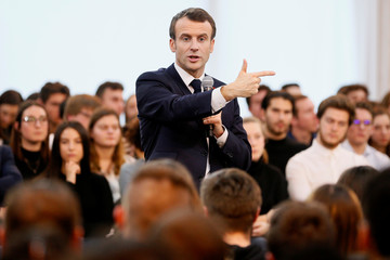 "French President Emmanuel Macron attends a meeting with youths as part of the ""Great National Debate"" in Etang-sur-Arroux"