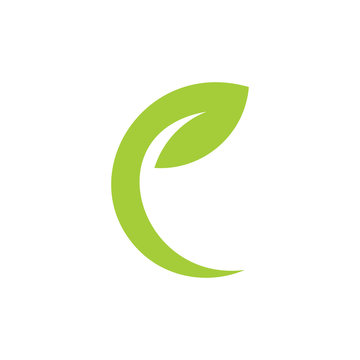 letter e simple geometric leaf curves simple logo