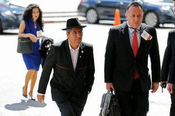 Bolivia's Minister of Foreign Affairs Diego Pary Rodriguez arrives to Executive tower in Montevideo