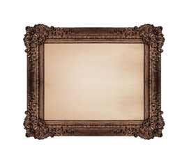 Very old picture frame isolated on white background.