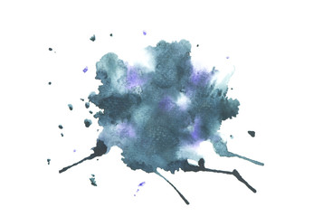watercolor stain with colorful shades on white background texture design