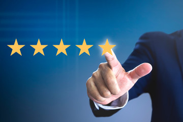 Rating with five stars for a satisfaction and enjoyment