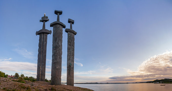 Mollebukta bay panorama with Swords in Rock monument commemorating Battle of Hafrsfjord Stavanger Rogaland Norway Scandinavia