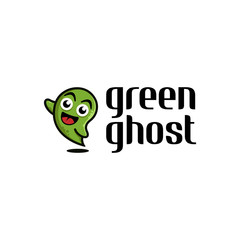 Simple cute ghost logo design in cartoon style illustration on white background, map pin logo design inspiration