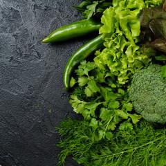 fresh green different vegetables. vegetables background