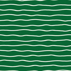 Horizontal hand drawn organic doodle lines on green background. Seamless vector pattern. Perfect for stationery, textiles, home decor, web backgrounds, fabric, giftwrapping and packaging