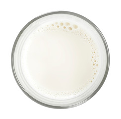 Glass of fresh milk , isolated on white background. Pure milk, soy milk or cow milk, cut out object.