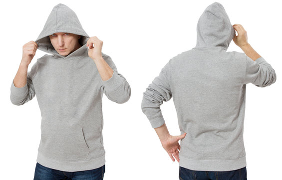 Man in template mens hoodie sweatshirt isolated on white background. Man in blank sweatshirt hoody with copy space and mockup for design logo print, Front and back view. Middle age man