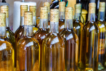 Home made wine in newly corked bottles
