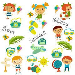 Beach and children. Summer vacation. Ocean, sea. Cartoon kids swimming.