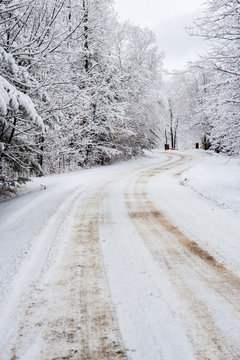 Road going between snow covered trees, Stowe, Vermont, USA