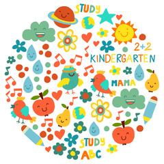 Kindergarten pattern for little children. Cute icons and characters for kids.