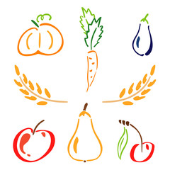 Color garden icon set - spikelet, pumpkin, pear, apple, cherry, carrot, zucchini. Simplified retro illustration. Childish doodle art. Element for design, wallpaper, fabric printing, wrapping paper.