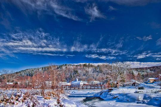Stowe village in winter, Stowe Vermont, USA
