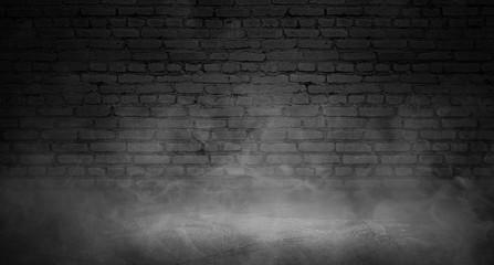 Background of empty brick old wall, spotlight, neon light, smoke
