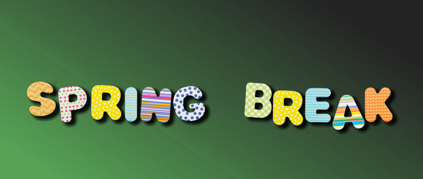 Spring break. Text with colorful letters on green color background