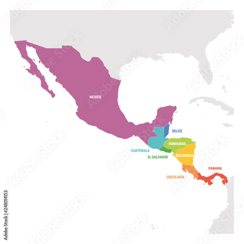 Central America Region. Colorful map of countries in central part of ...