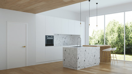 Modern house interior. Interior with white walls and white kitchen. 3D rendering.