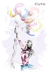 Hand drawn beautiful young woman holding colorful balloons. Stylish blonde hair girl. Fashion woman with balloons. Sketch.