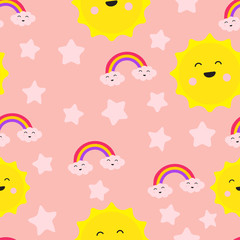 Cloud Rainbow Star and Sun Cute Seamless Repeat Pattern, Laughter Fun Care Joy, Love for Two, Cartoon Vector EPS 10 Illustration Wallpaper. Nursery Background for Kid Room.